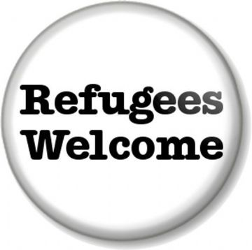 Refugees Welcome Pinback Button Badge Anti War Political Protest Peace Asylum - White Bold